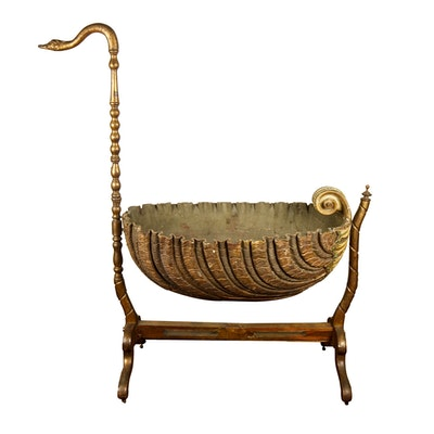 Antique French Provincial Swan Carved Cradle