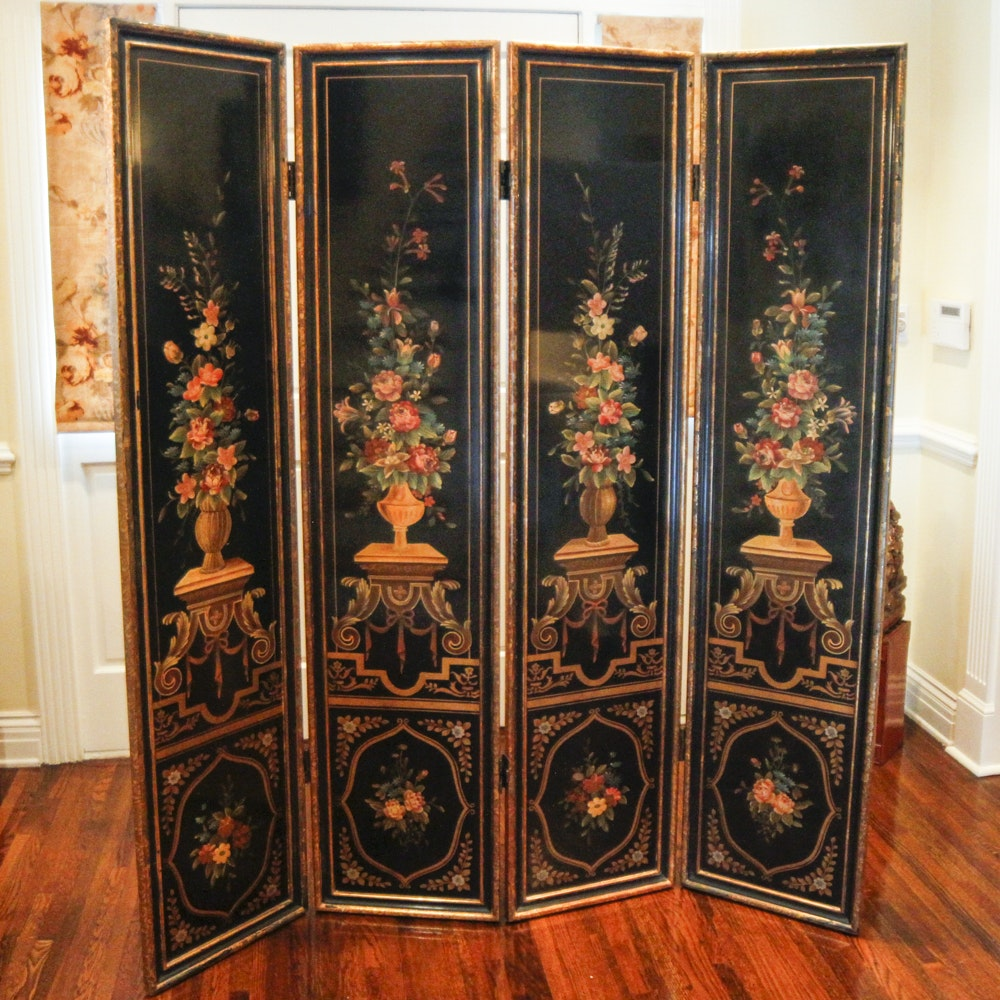 Vintage Hand Painted Tole Folding Screen