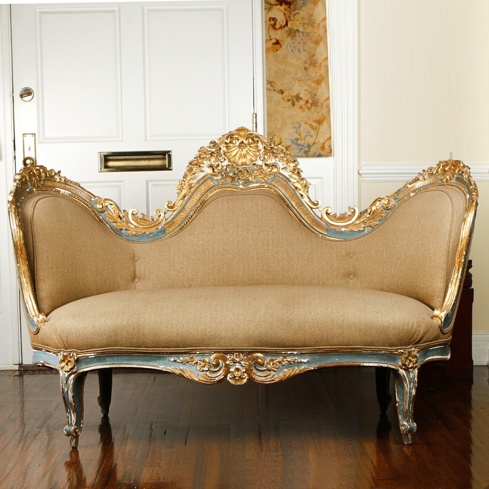 Rococo Revival Victorian Settee with Ralph Lauren Upholstery