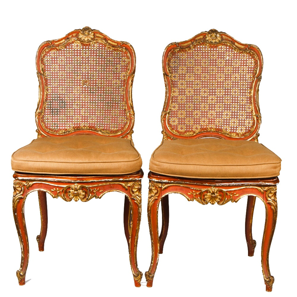 Pair of Antique Louis XV Style Cane Back Side Chairs
