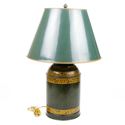 Green and Gilt Painted Bass Clef Tole Lamp