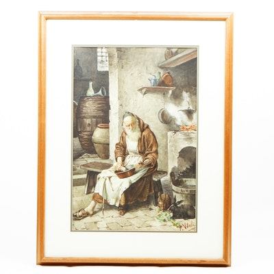 E. Vitali Framed Watercolor