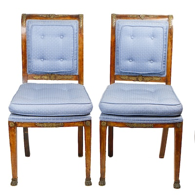 Pair of Regency Style Upholstered Dining Room Chairs