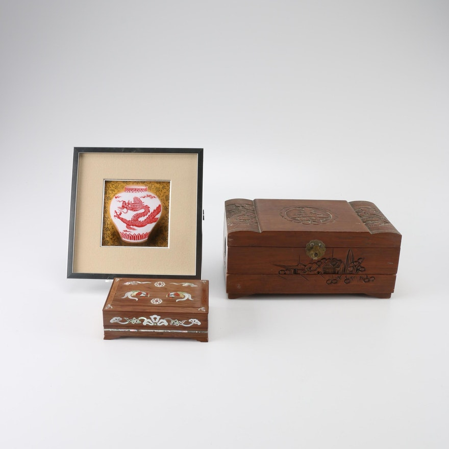 Chinese and Japanese Wooden Boxes and Wall Decor : EBTH