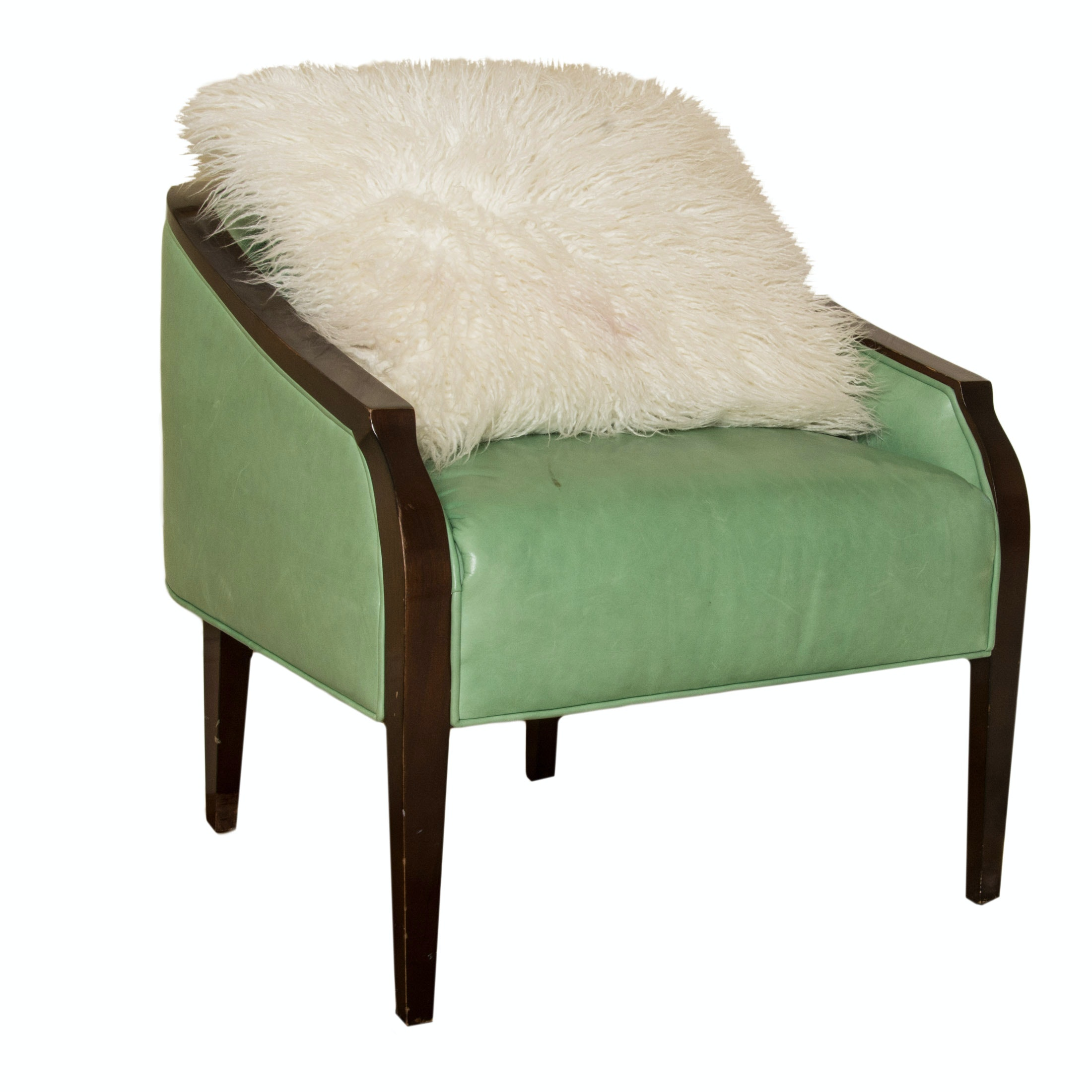 Mint Green Leather Club Chair By Baker Furniture ...