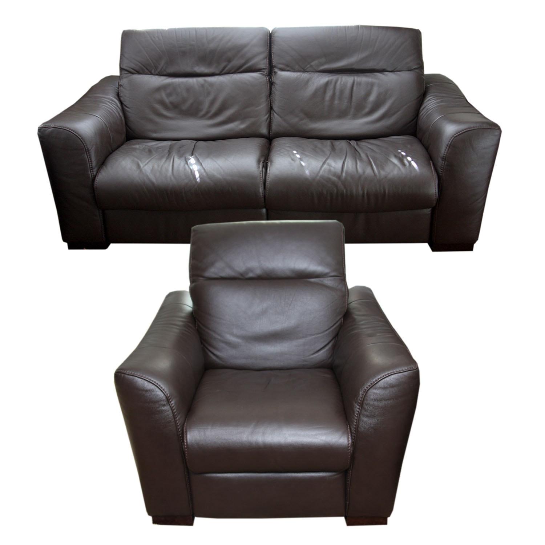 Natuzzi Lambert Leather Reclining Loveseat and Chair