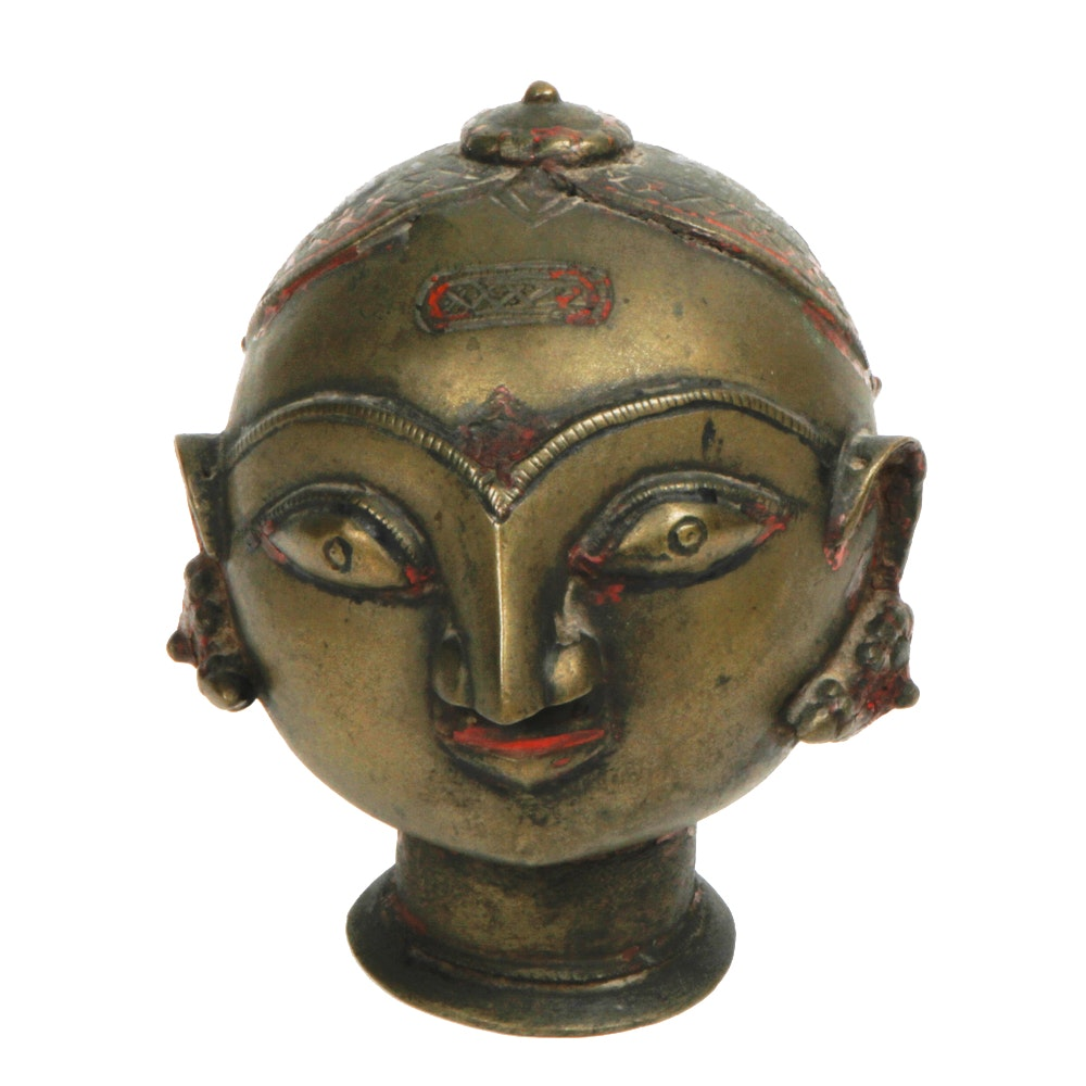 Vintage Hindu Brass Head of Gauri Sculpture