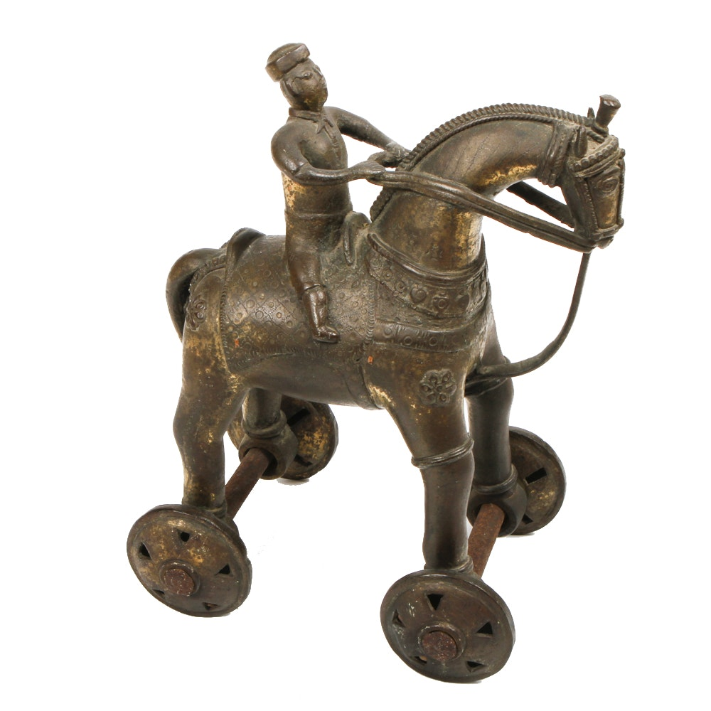 Vintage Brass Trojan Horse with Rider Sculpture