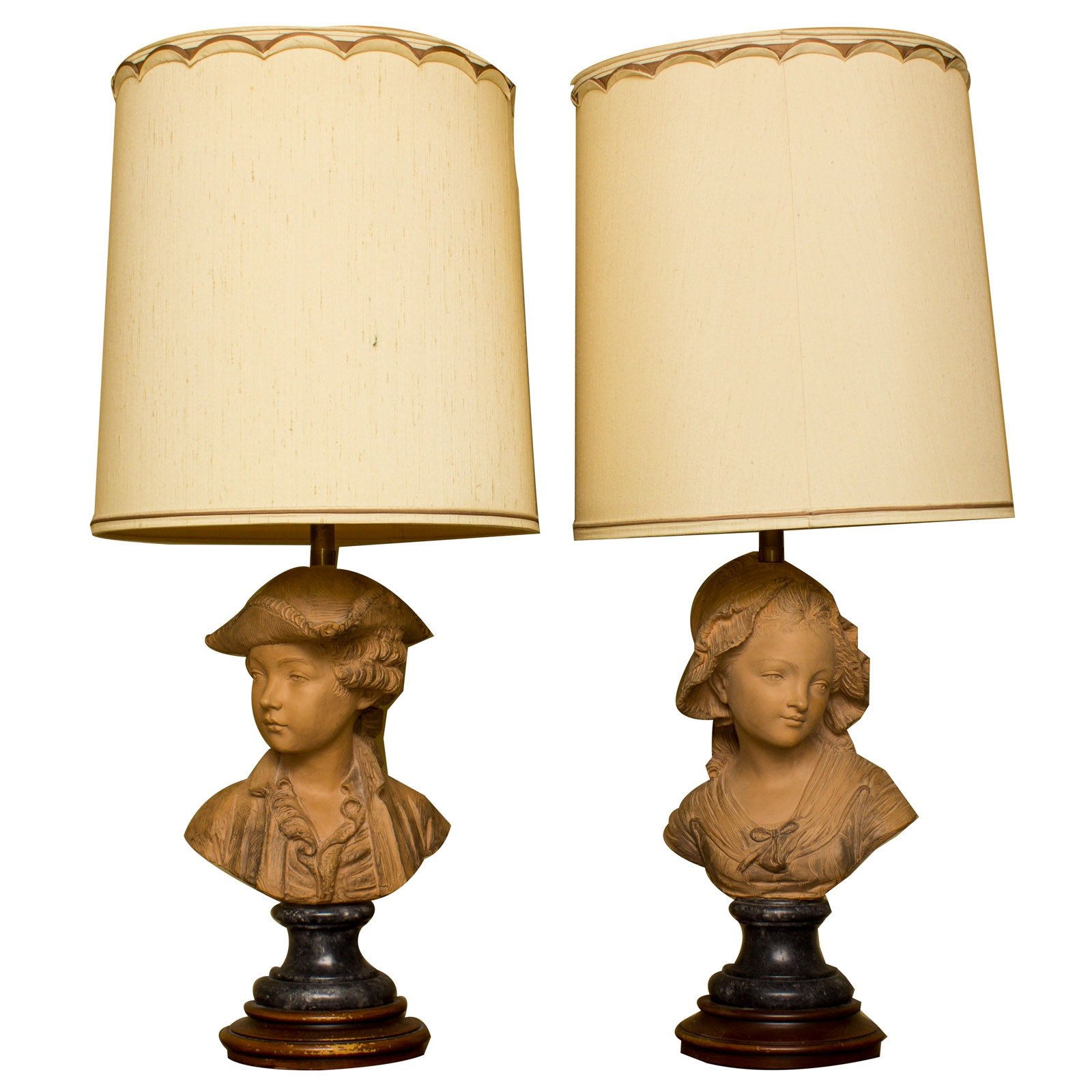 Pair Of Clay Bust Table Lamps ...