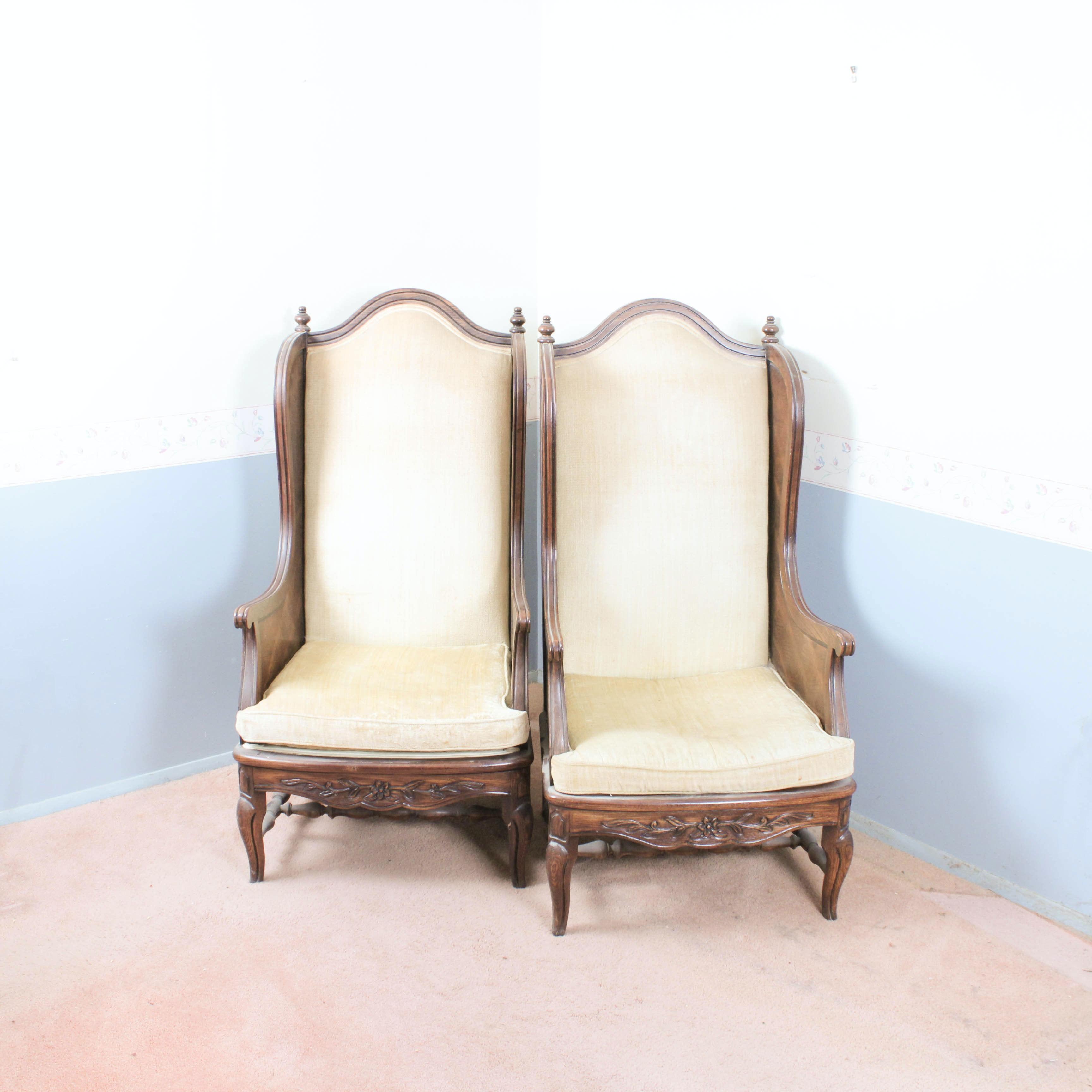 Thomasville Oak Wingback Chairs ...