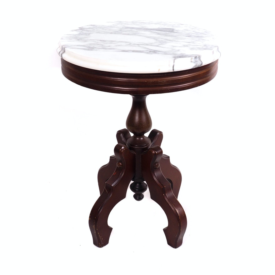Victorian Marble Top Accent Table Ebth
