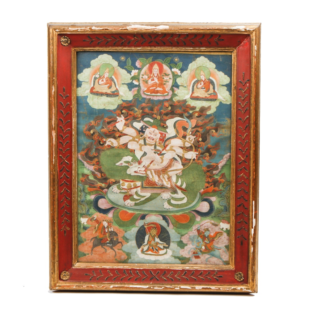 Framed Tibetan Style Buddhist Painting