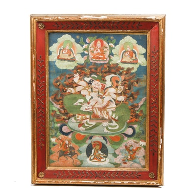 Framed Tibetan Style Buddhist Painting