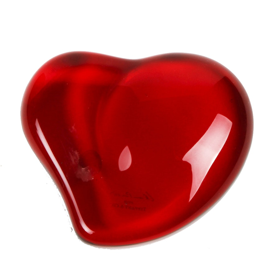 4649523c0310 Elsa Peretti for Tiffany & Co. Red Crystal Heart Paperweight : EBTH