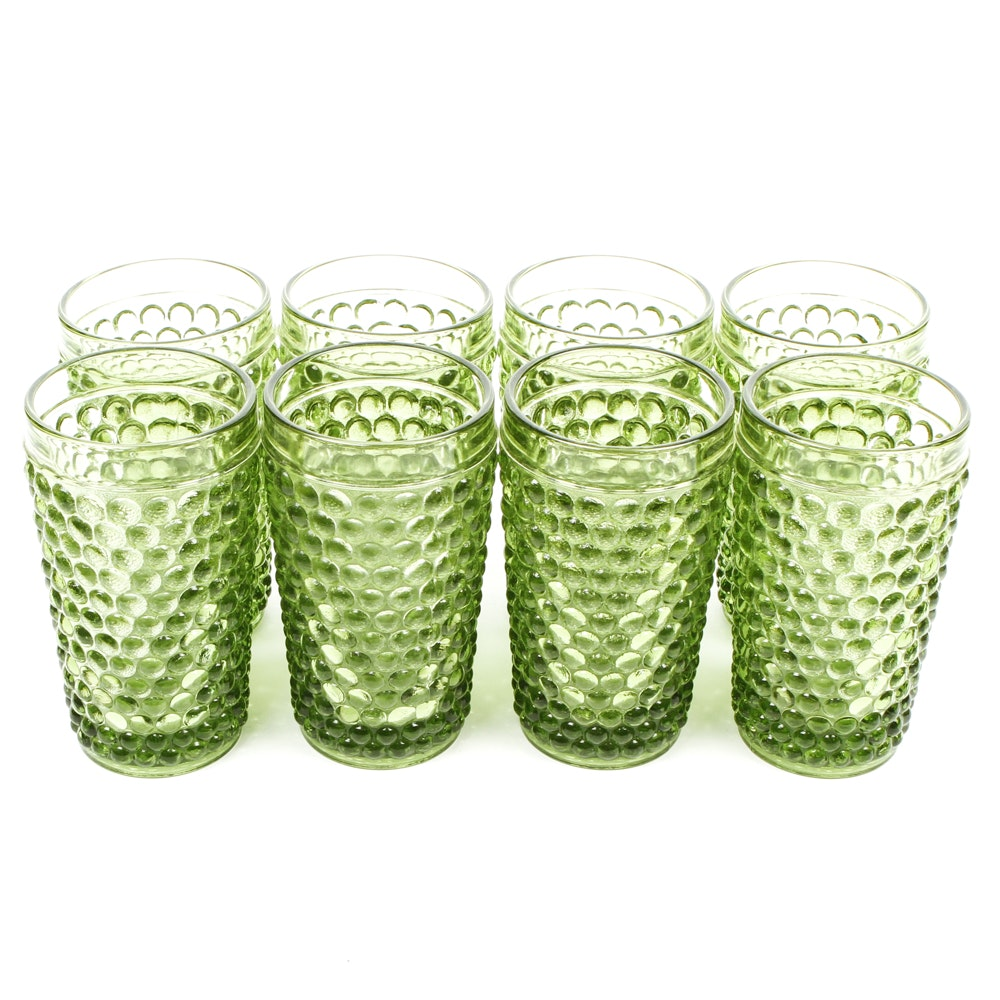 Vintage Green Bubble Patterned Glassware