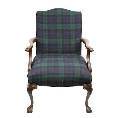 Chippendale-Style Mahogany Upholstered Arm Chair