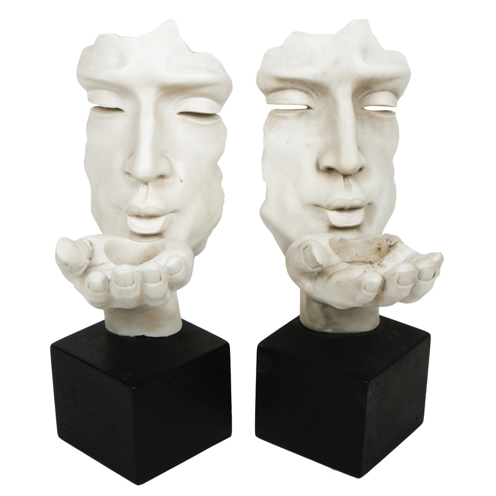 "Pair of Vitruvian ""Blowing A Kiss"" Votive Holders"