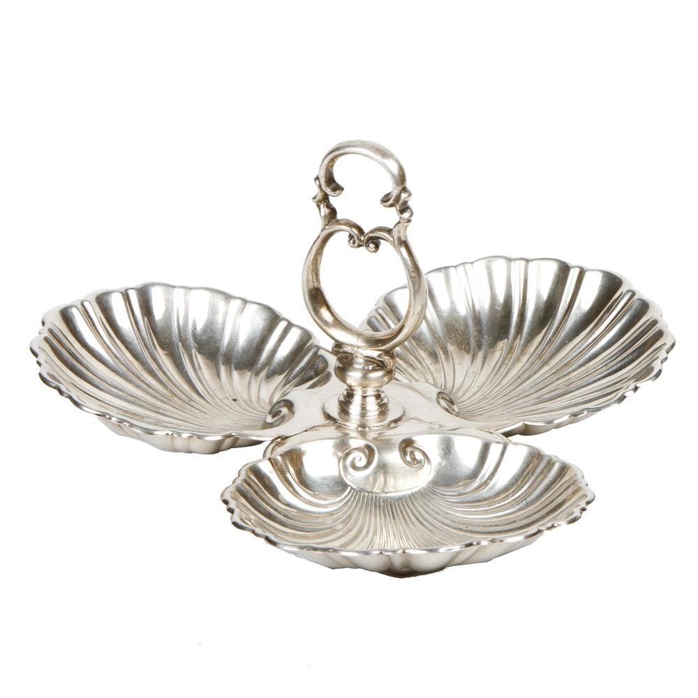 Vintage Silver Plated Clam Shell Serving Tray