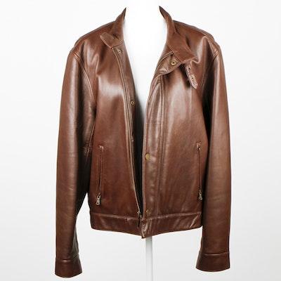 Men's Polo Leather Jacket