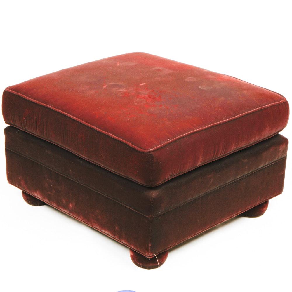 Garnet Velvet Upholstered Ottoman