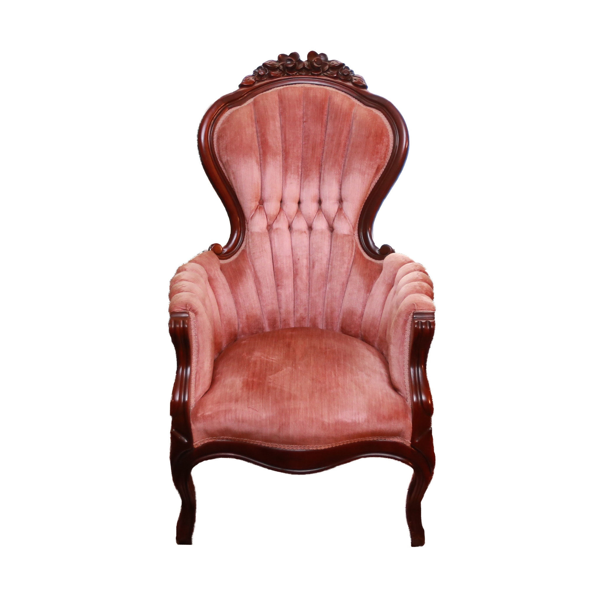 Vintage Victorian Style Button Tufted Armchair Ebth