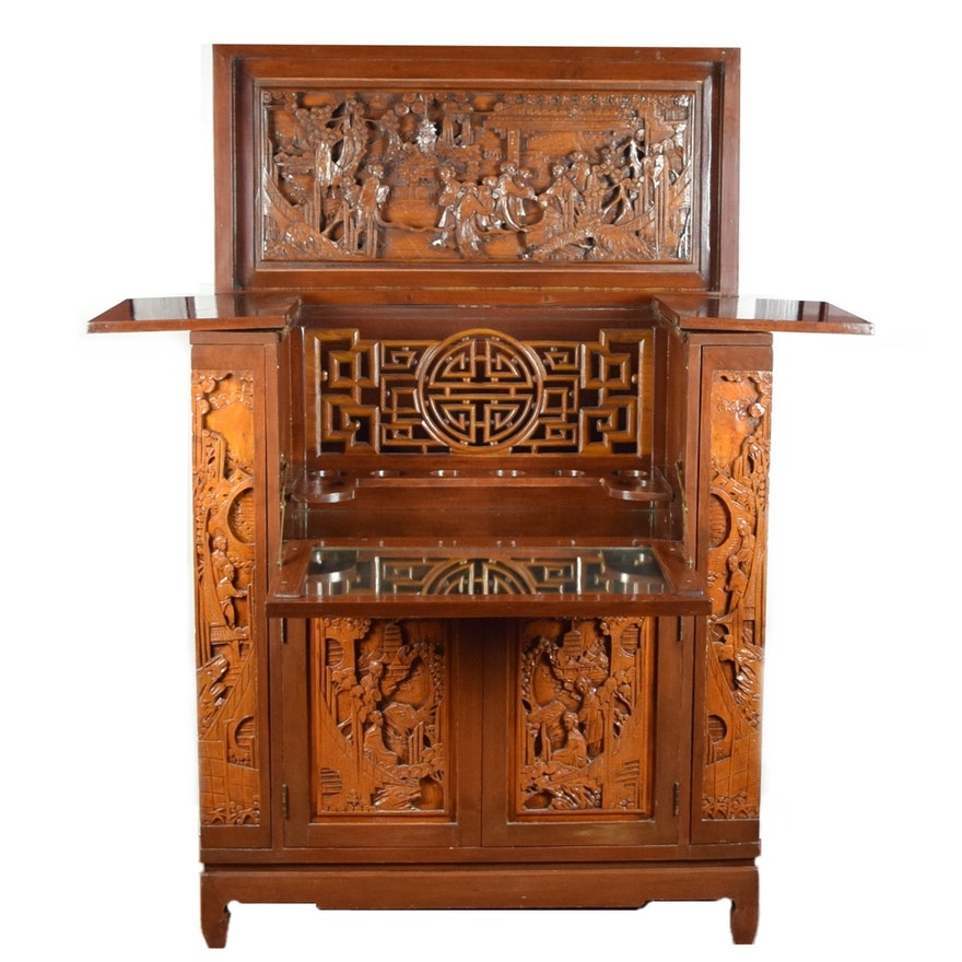 Splendid Antique Asian Bar Cabinet with Ornate Carved Panels ... - Splendid Antique Asian Bar Cabinet With Ornate Carved Panels : EBTH