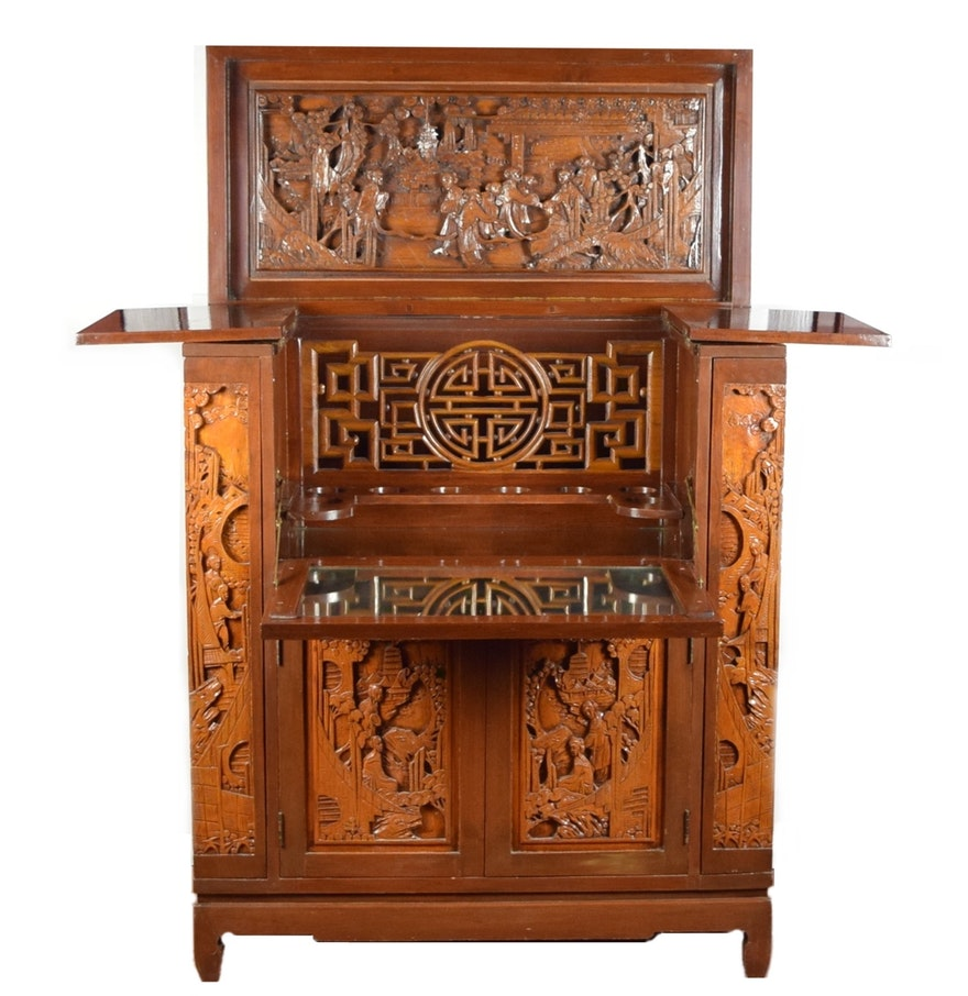 Splendid antique asian bar cabinet with ornate carved for Antique asian cabinet