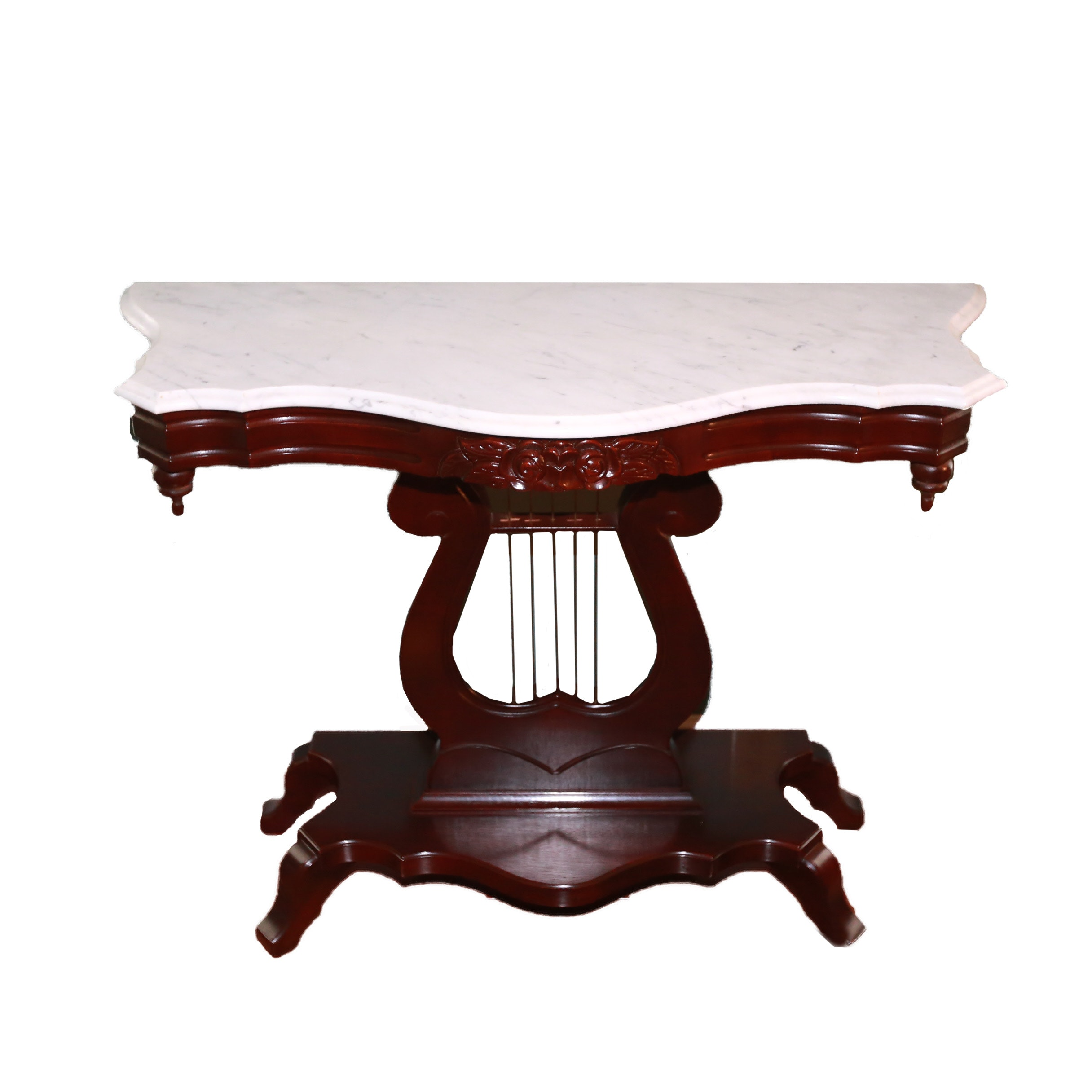 Vintage Victorian Style Marble Top Lyre Table ...
