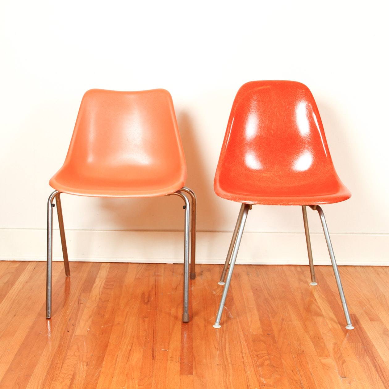Two Mid Century Modern Shell Chairs Including Herman Miller