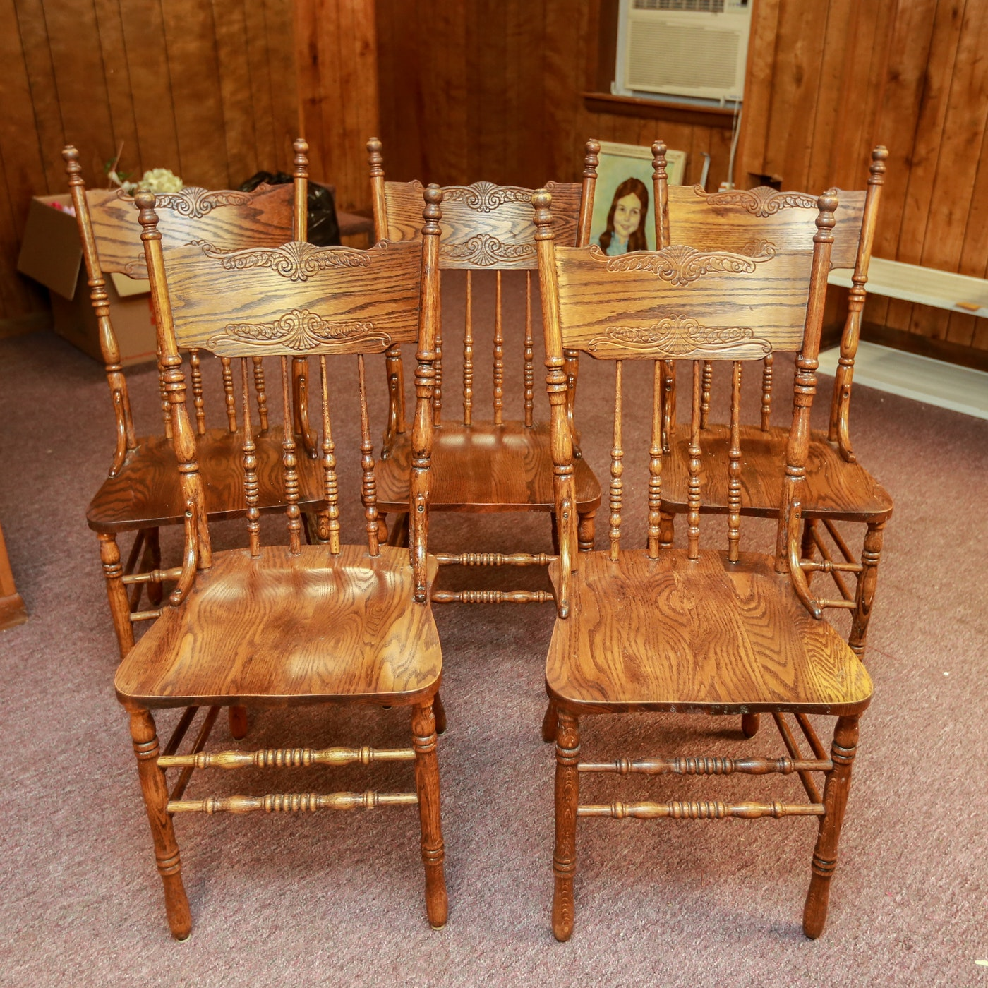Pressed Back Oak Dining Chairs Ebth