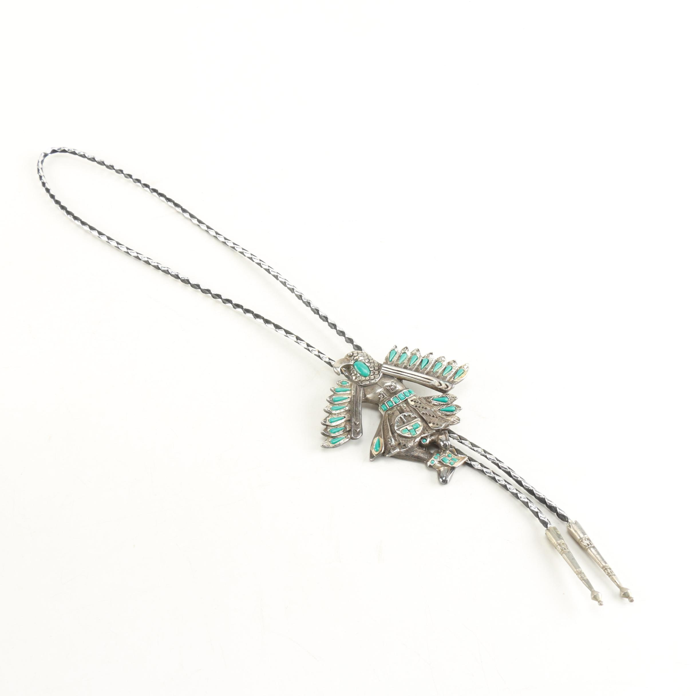 Silver Tone Turquoise Style Bolo Tie