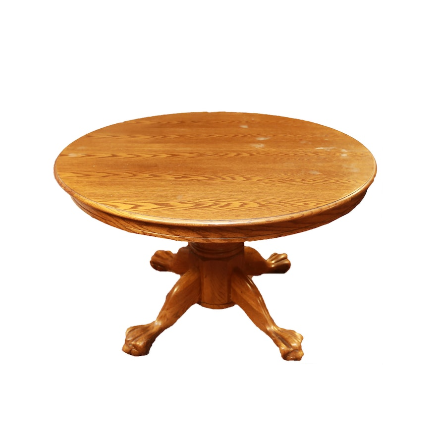 Contemporary round oak dining table ebth - Round oak dining tables ...