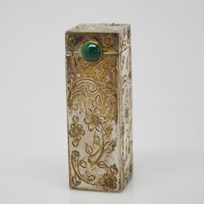 Antique 800 Silver and Malachite Lipstick Case by U. Bellini