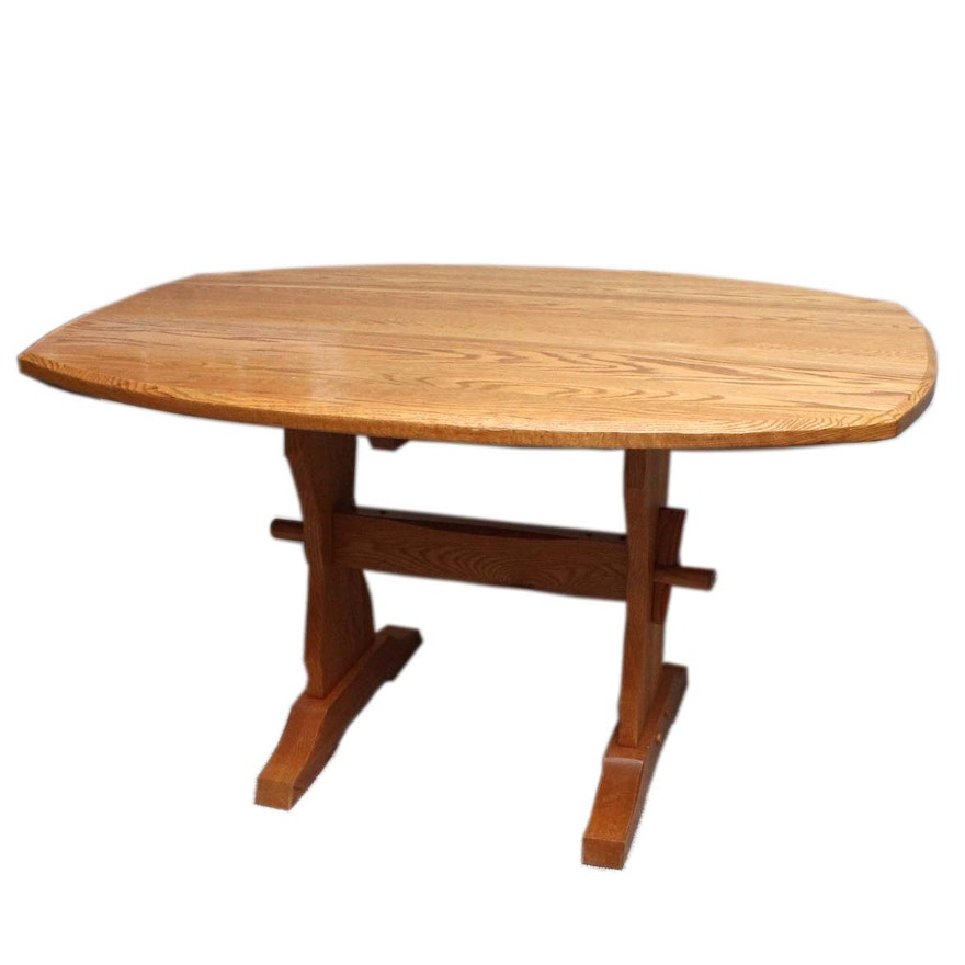 Solid Oak Hunt Country Furniture Trestle Dining Table EBTH - Oval trestle dining table
