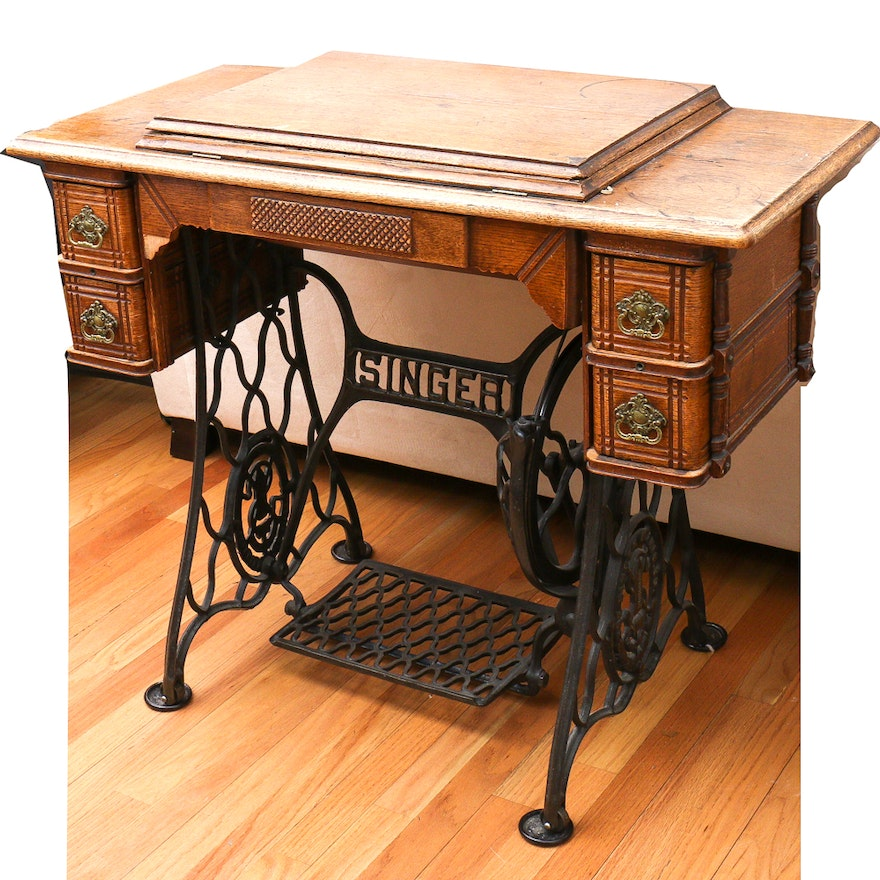 Antique Singer Sewing Machine with Cabinet ... - Antique Singer Sewing Machine With Cabinet : EBTH