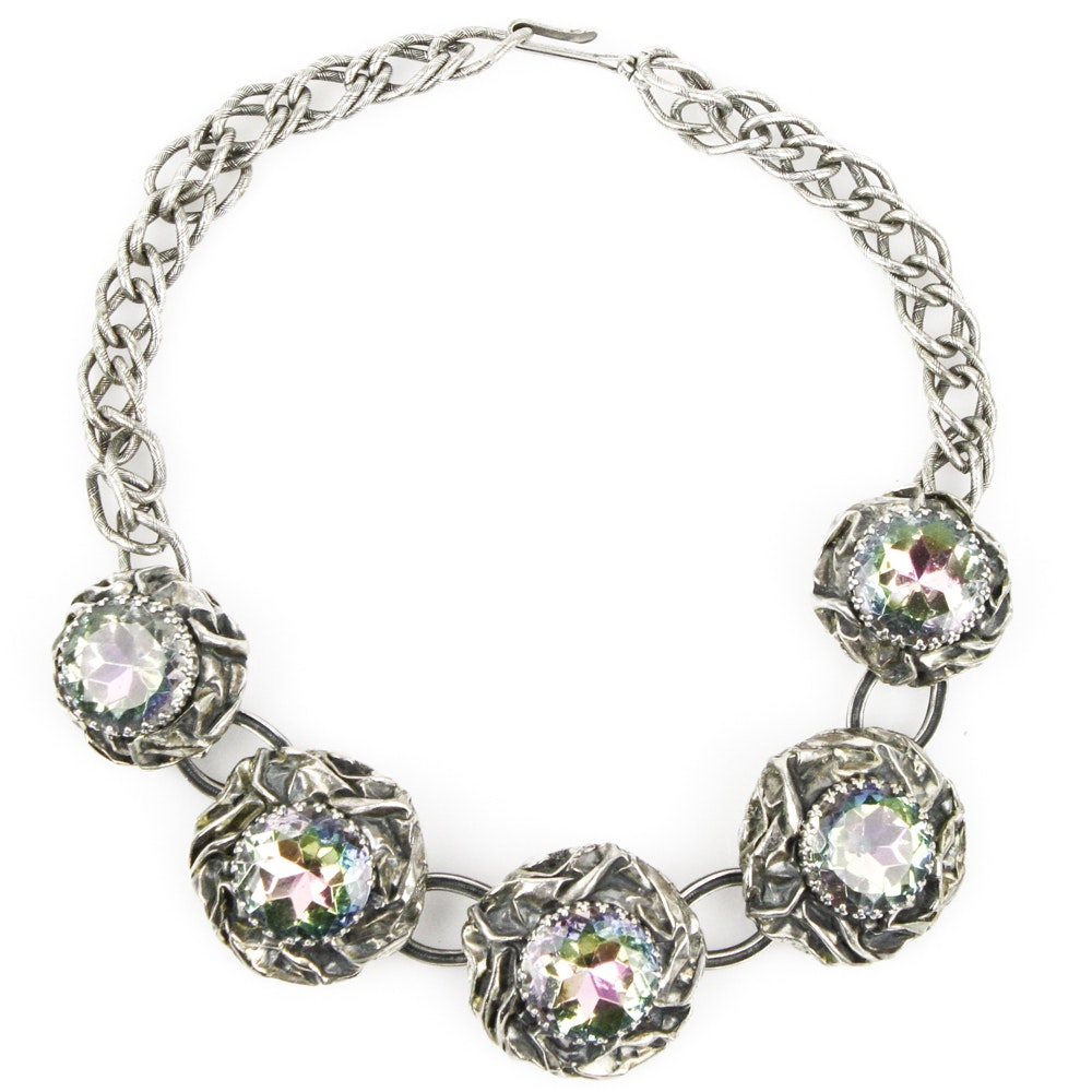 Vintage Schiaparelli Aurora Borealis Collar Necklace