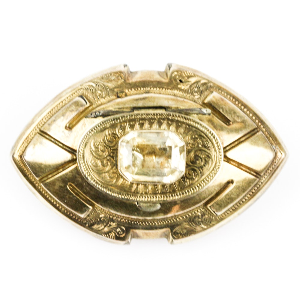 Victorian Citrine Mourning Brooch