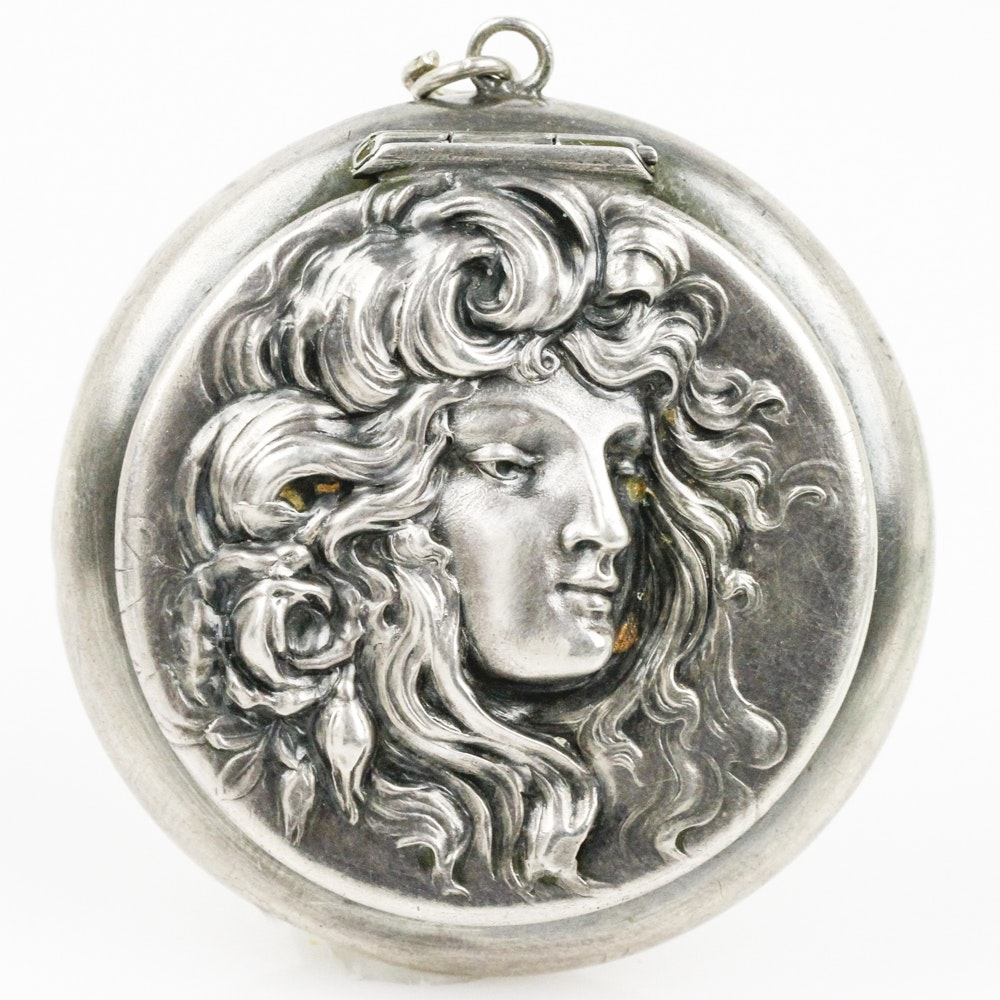 Art Nouveau Sterling Silver Repoussé Locket