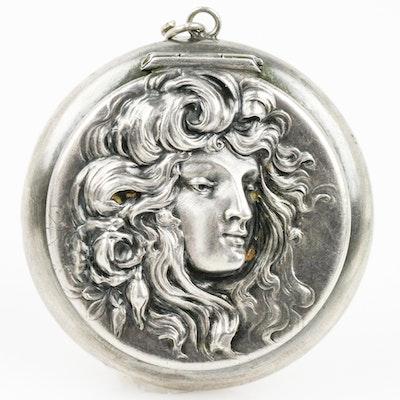 Art Nouveau Sterling Silver Repoussé Locket