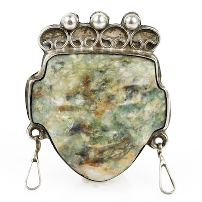 Mayan Carved Jasper and Sterling Silver Pendant Brooch