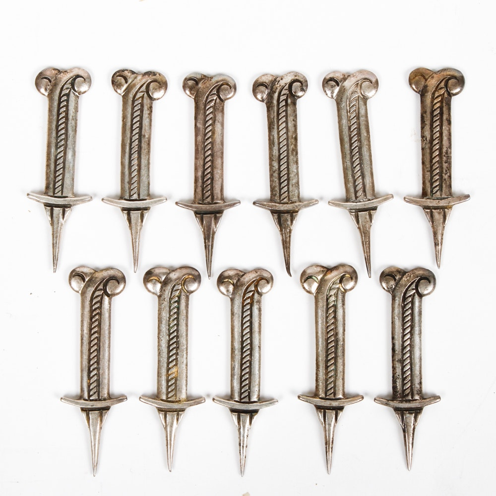 Set of Antique Silver Corn Holders