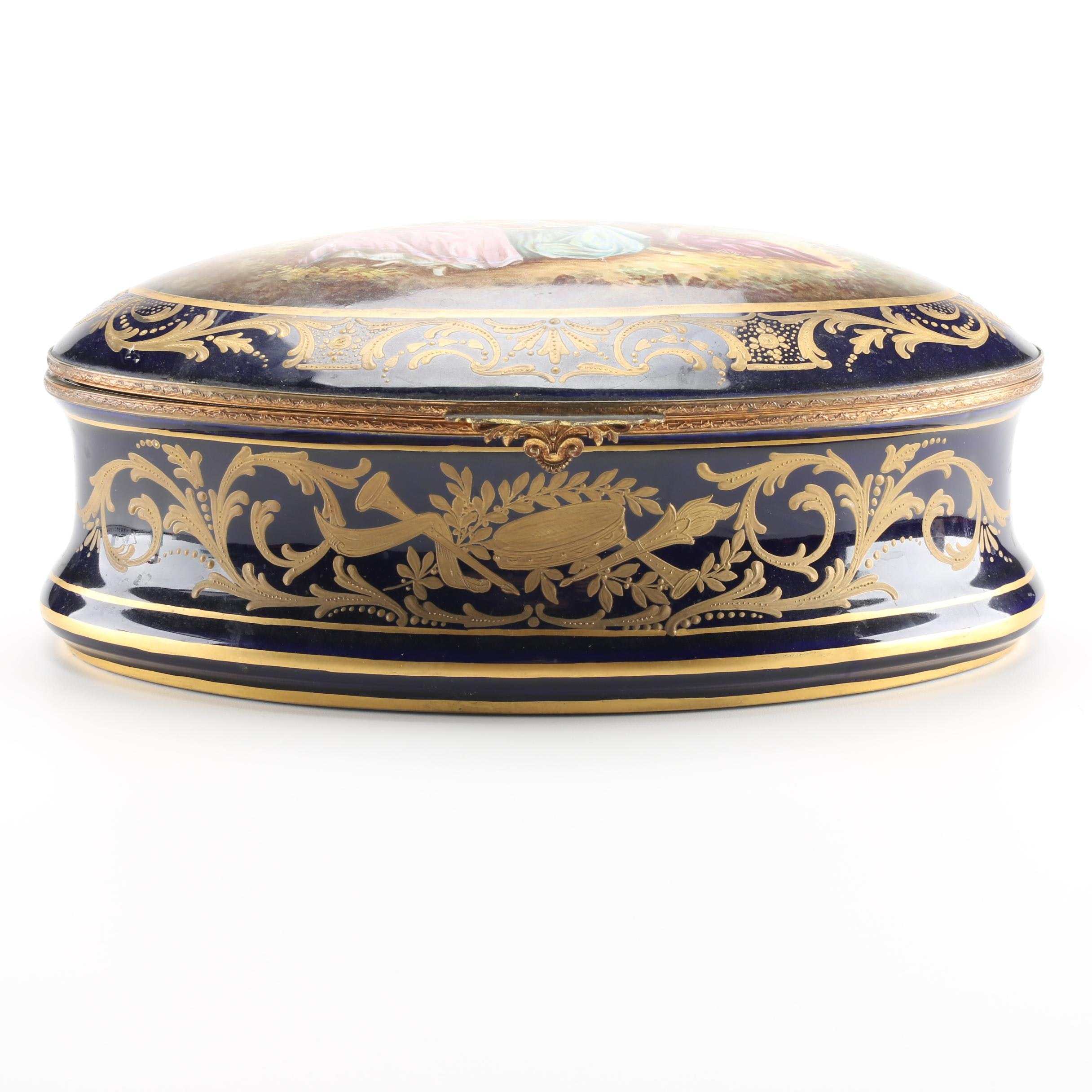 Sevres Style French Porcelain Jewelry Casket