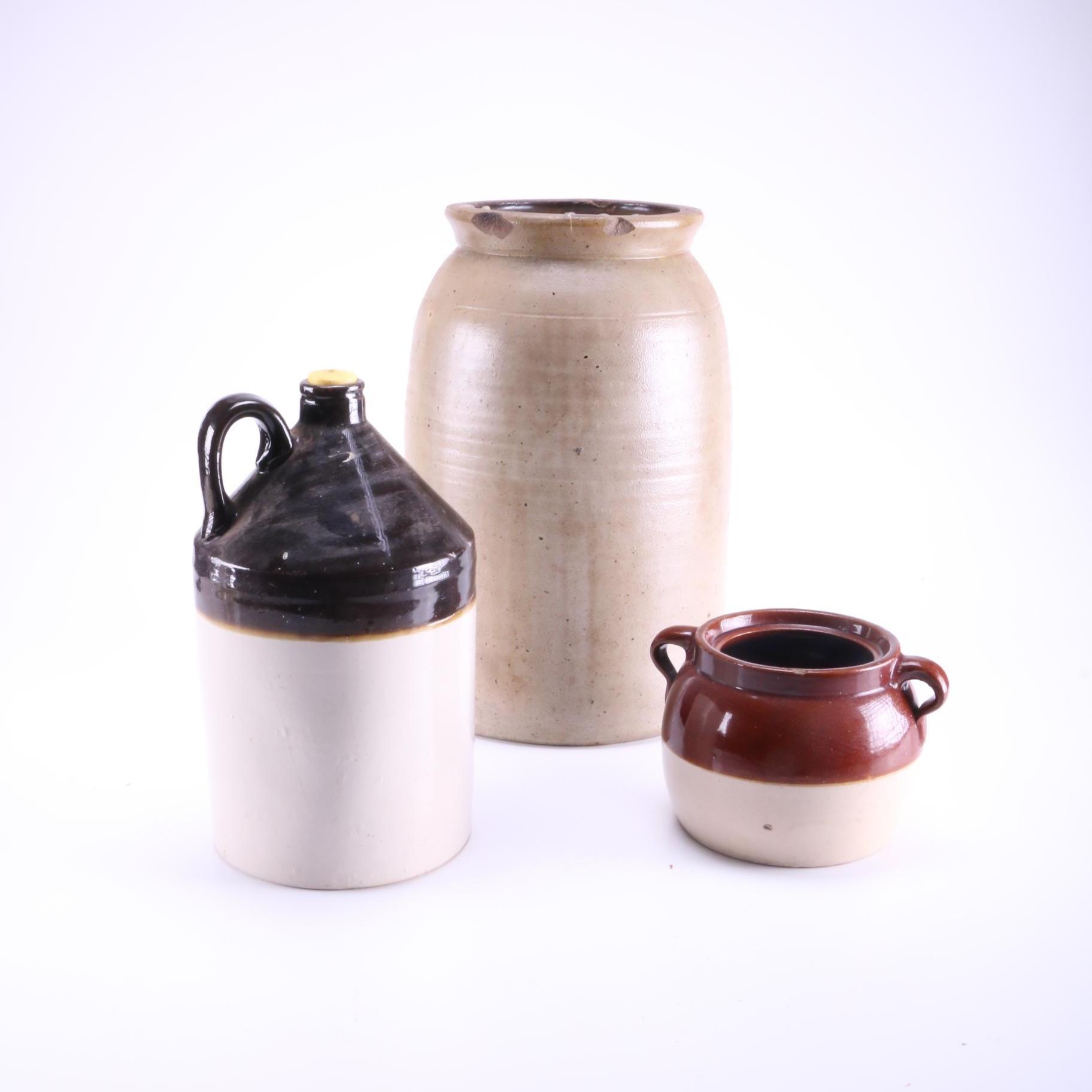 Assortment of Pottery Crocks and Jug