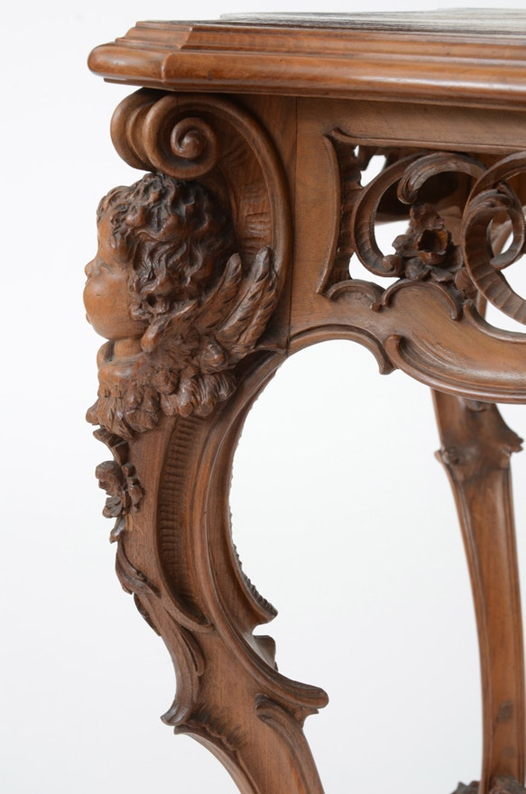 Italian Rococo Revival Walnut Table Ebth