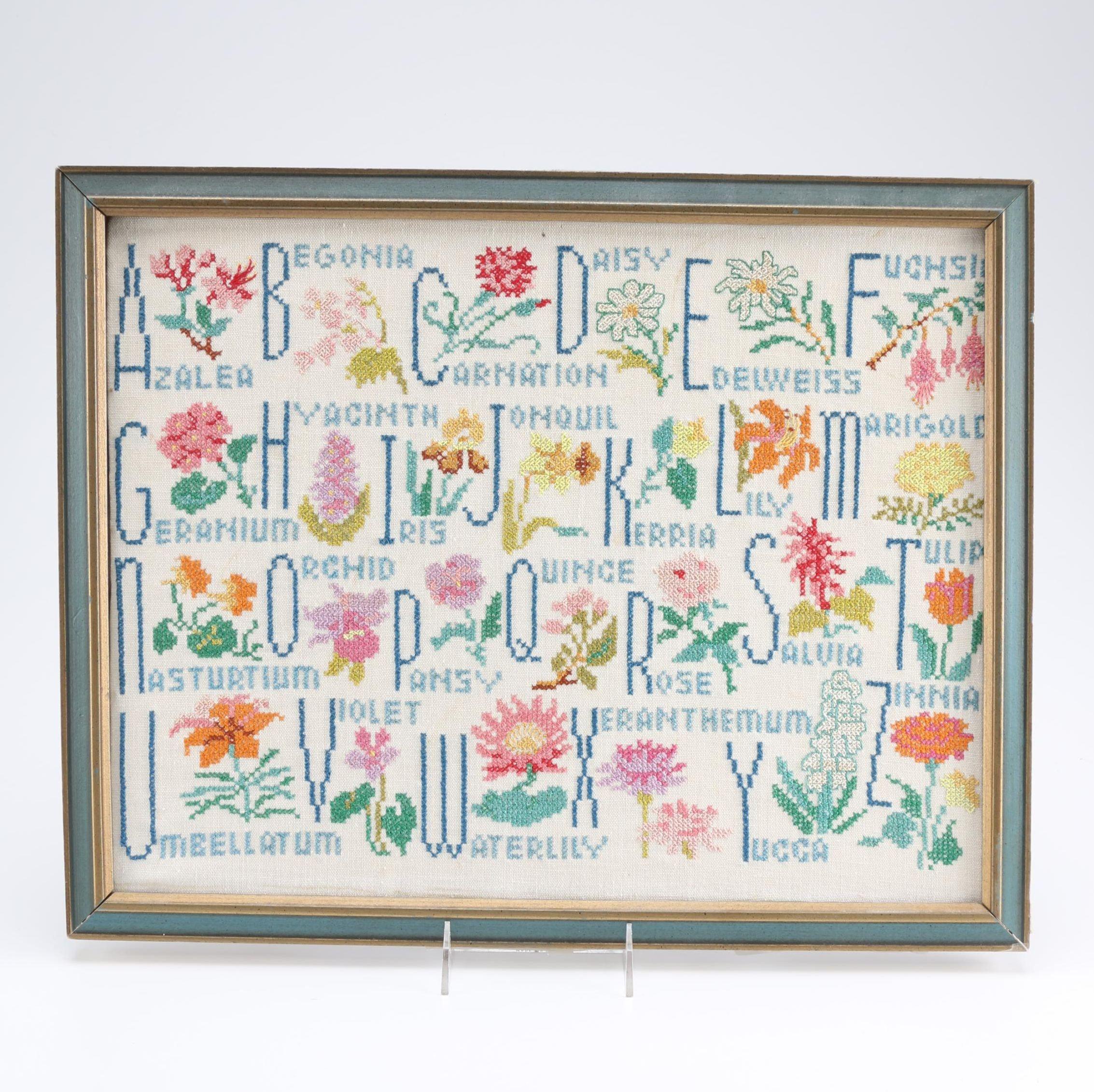 Framed Needlepoint of Alphabet in Flowers