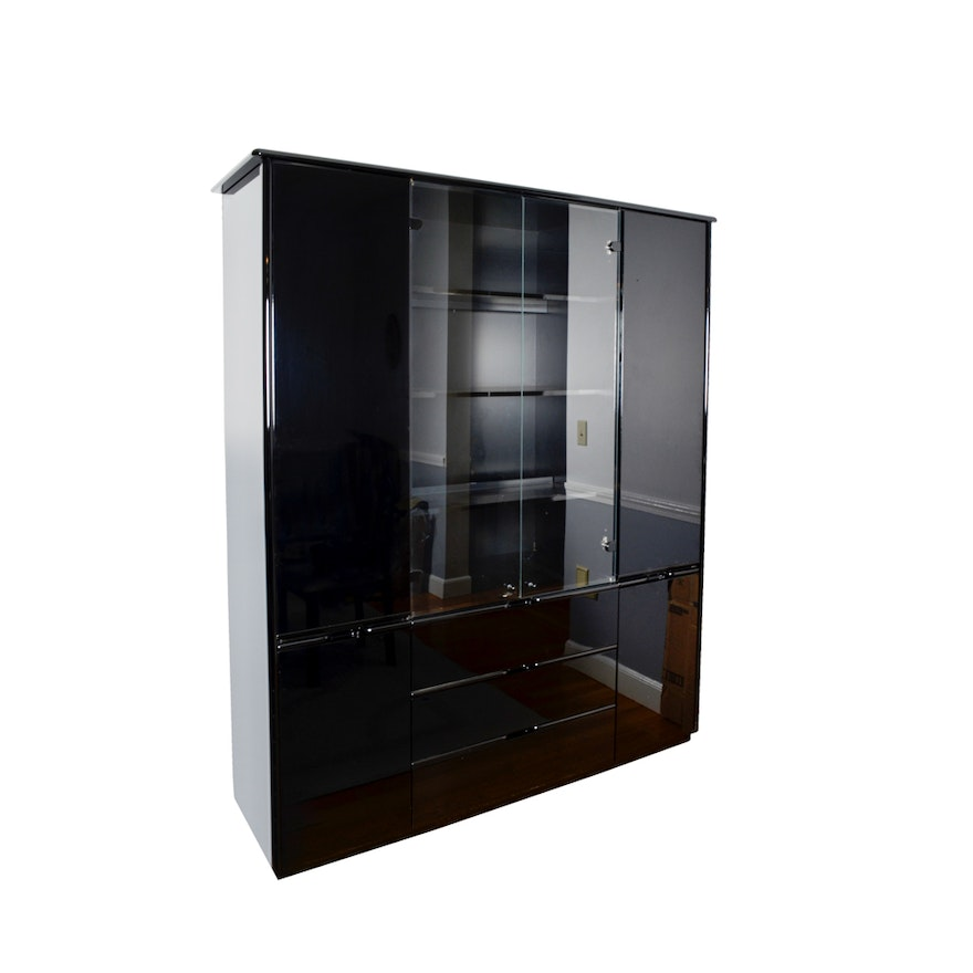 Vintage Black Lacquered China Cabinet