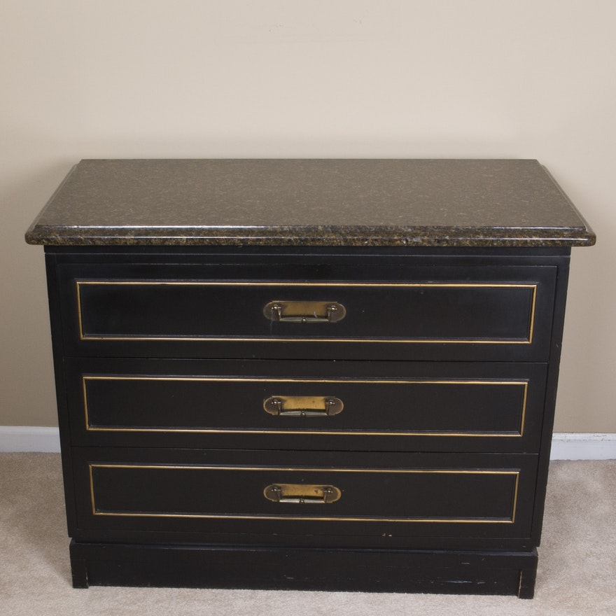 Robinson Furniture Marble Top Three Drawer Chest