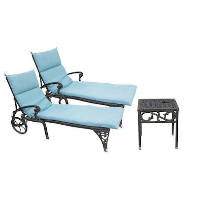 Pair of chaise lounge chairs with accent table ebth for Accent chaise lounge