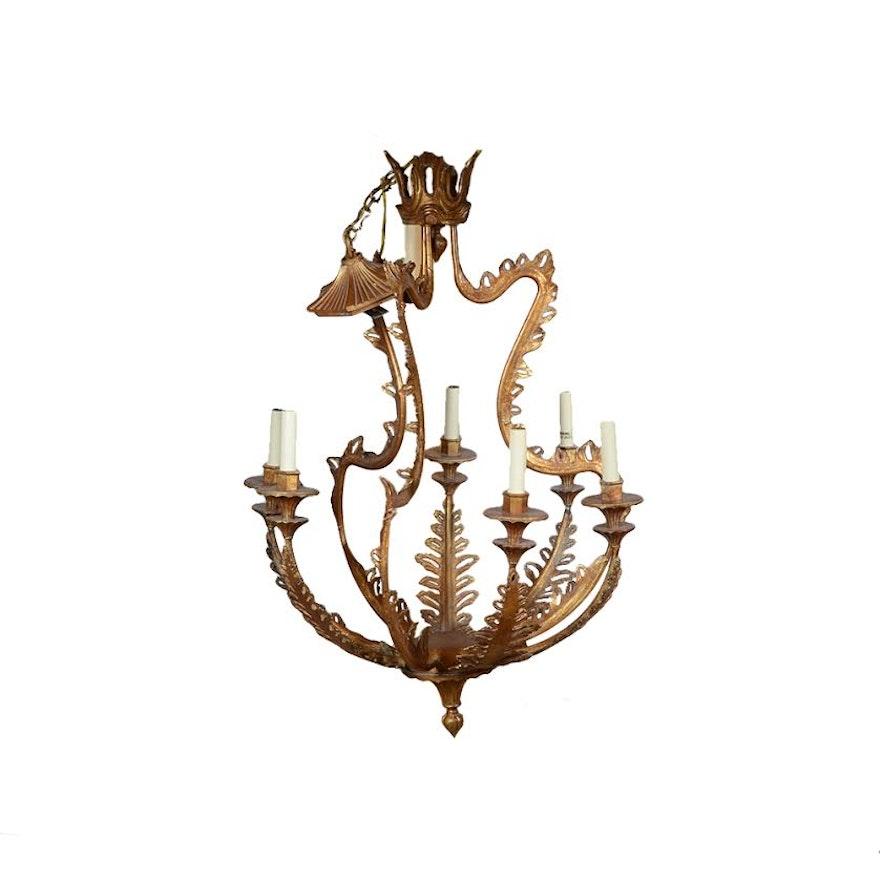 Gold tone acanthus leaf chandelier ebth gold tone acanthus leaf chandelier aloadofball Choice Image