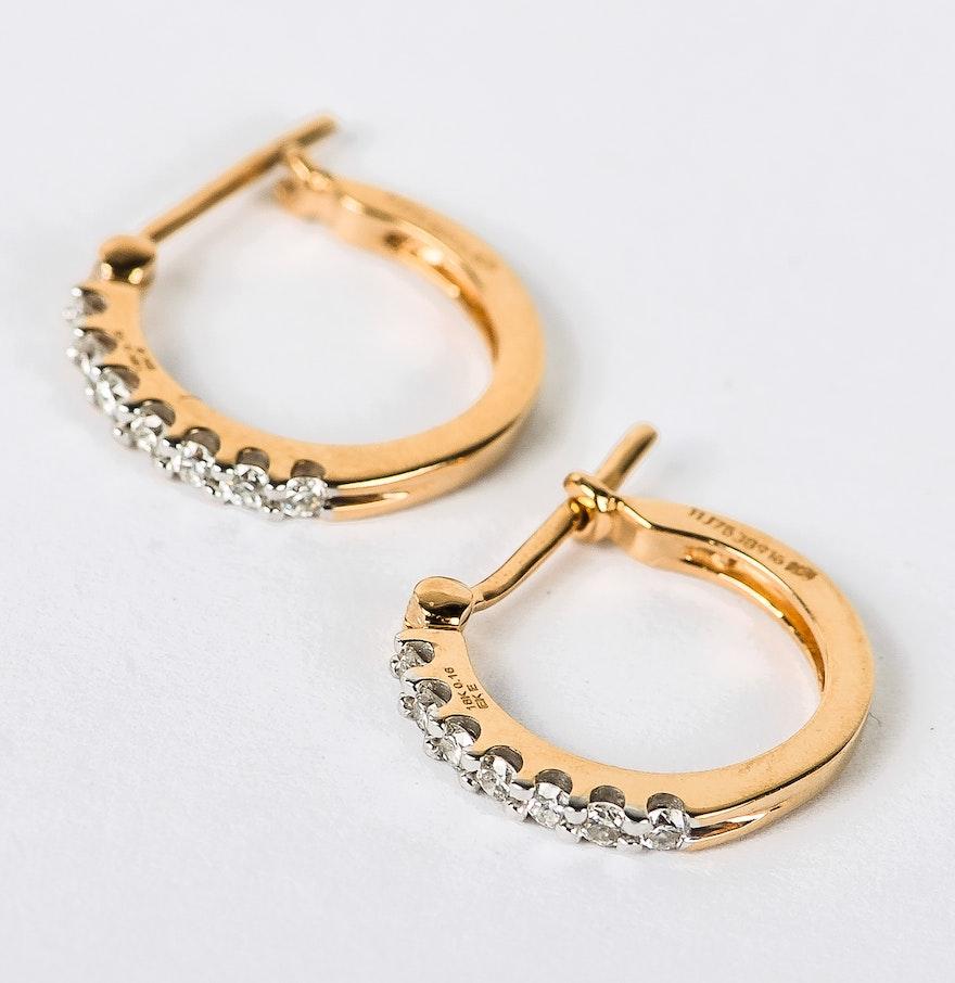 18k Yellow Gold And Diamond Huggie Hoop Earrings